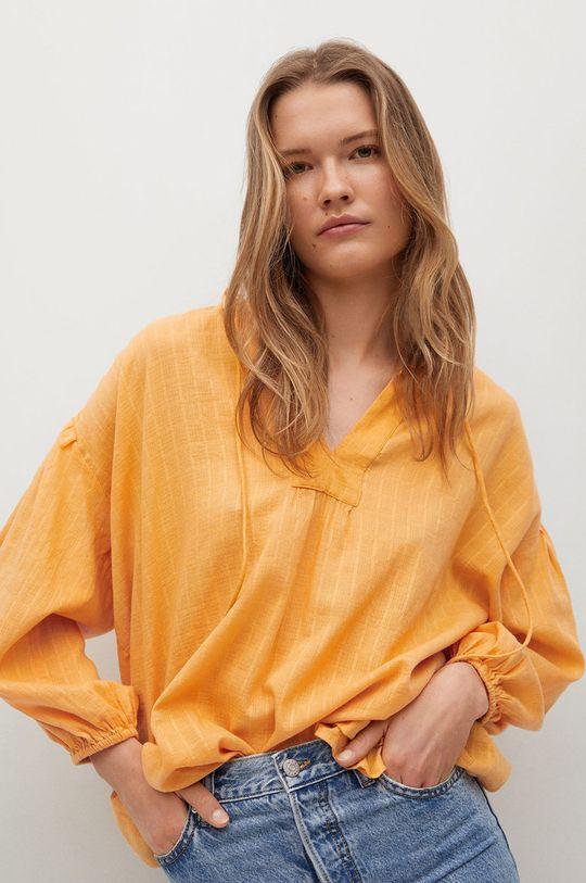 żółty Mango - Bluzka bawełniana Waves Damski