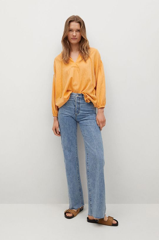 Mango - Bluzka bawełniana Waves żółty