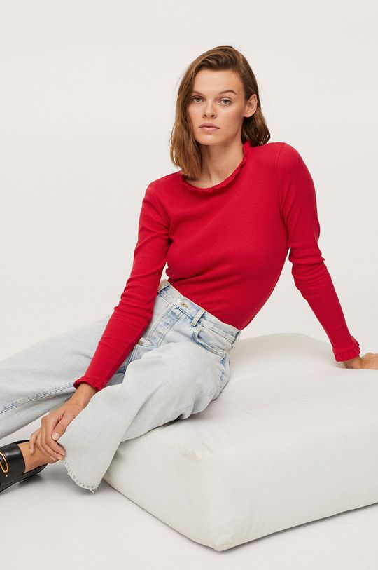 červená Mango - Tričko s dlouhým rukávem Star