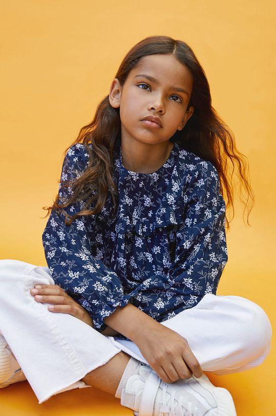 granatowy Mango Kids - Bluzka bawełniana dziecięca Dobby Dziewczęcy