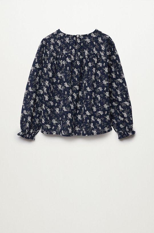 Mango Kids - Bluzka bawełniana dziecięca Dobby granatowy