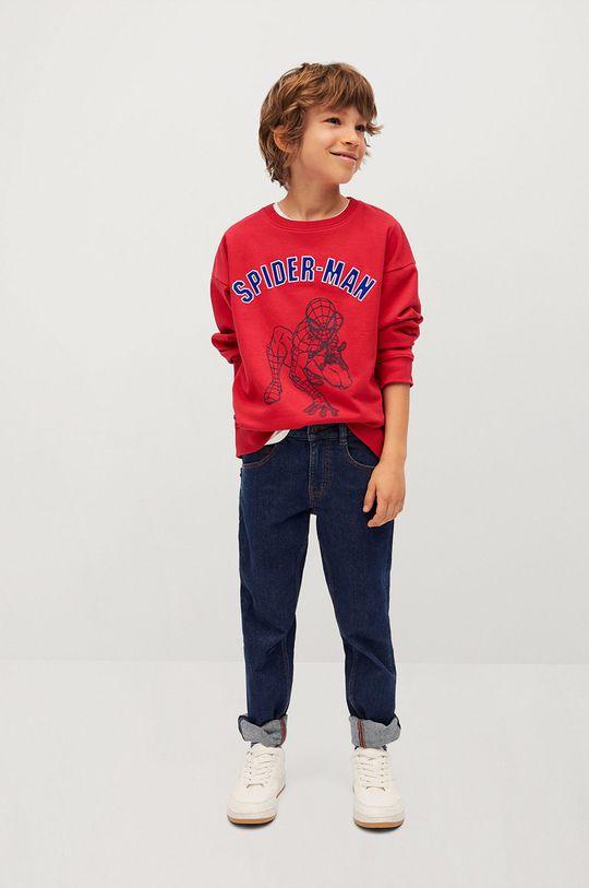 Mango Kids - Bluza bawełniana dziecięca Spider 116-152 cm czerwony