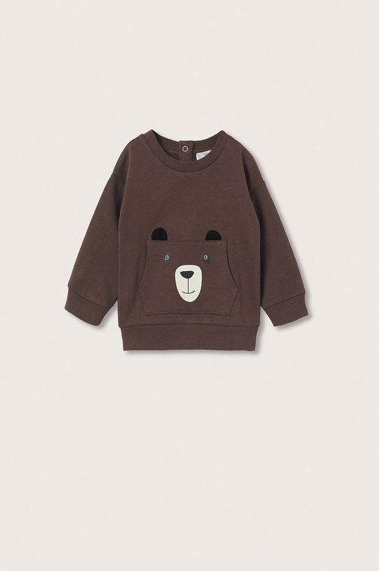 brązowy Mango Kids - Bluza bawełniana dziecięca Brown Chłopięcy