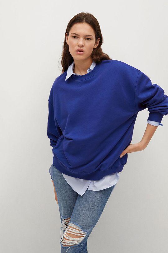 niebieski Mango - Bluza bawełniana Polka Damski