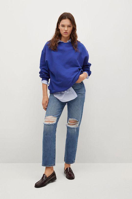 Mango - Bluza bawełniana Polka niebieski