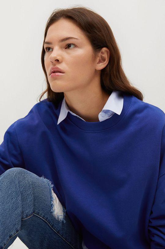 niebieski Mango - Bluza bawełniana Polka