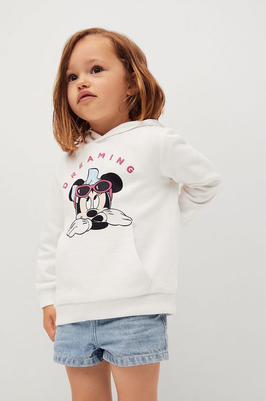 biały Mango Kids - Bluza bawełniana dziecięca Mdream 80-116 cm Dziewczęcy