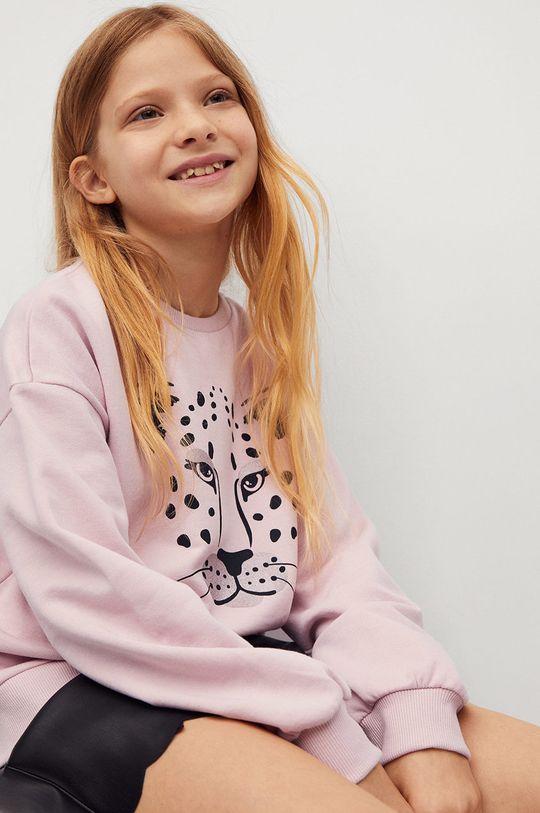pastelově růžová Mango Kids - Dětská bavlněná mikina Dublini 116-164 cm Dívčí