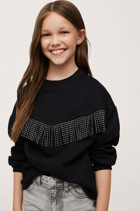 czarny Mango Kids - Bluza bawełniana dziecięca Fringe Dziewczęcy