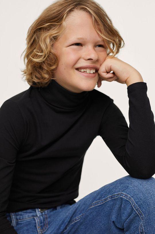 černá Mango Kids - Dětské tričko s dlouhým rukávem Turbo1 Chlapecký