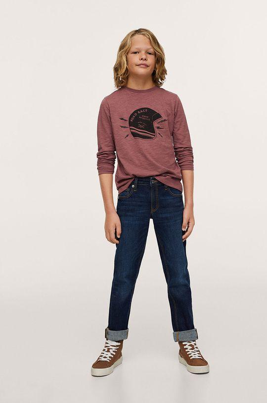 Mango Kids - Dětská bavlněná košile s dlouhým rukávem Helmet oranžová