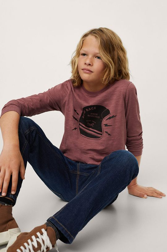 Mango Kids - Dětská bavlněná košile s dlouhým rukávem Helmet  100% Bavlna
