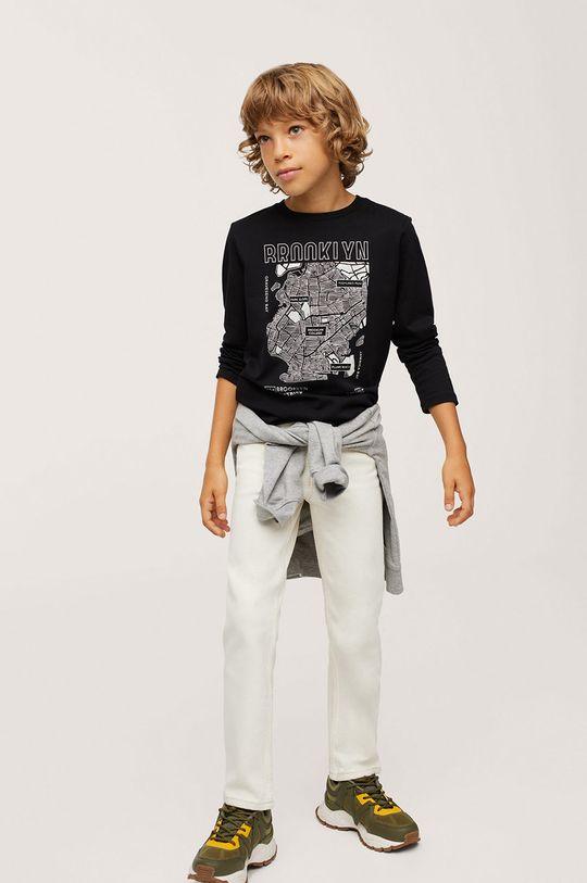 černá Mango Kids - Dětská bavlněná košile s dlouhým rukávem Map Chlapecký