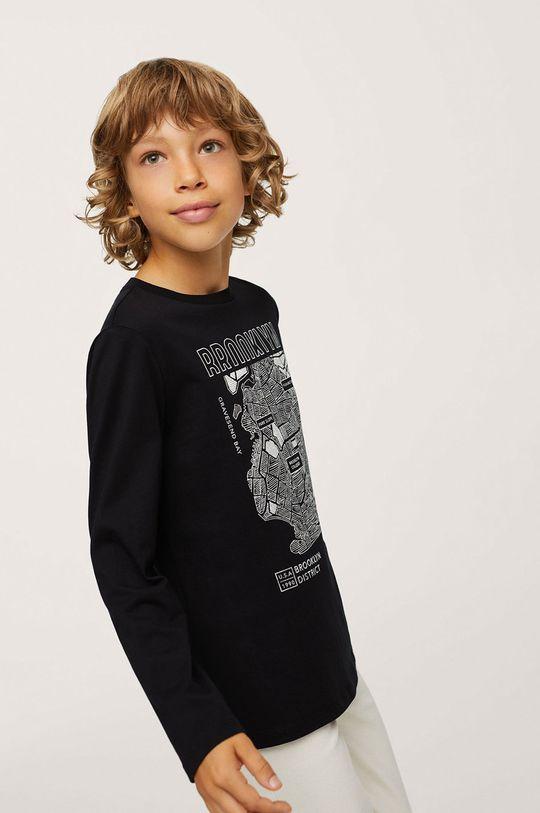 Mango Kids - Dětská bavlněná košile s dlouhým rukávem Map černá