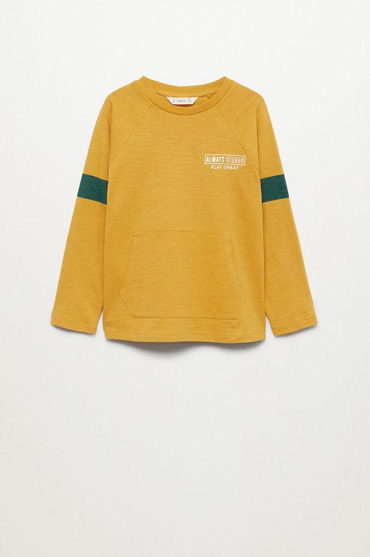 žlutá Mango Kids - Dětská bavlněná košile s dlouhým rukávem League Chlapecký
