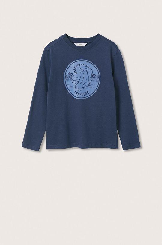 námořnická modř Mango Kids - Dětská bavlněná košile s dlouhým rukávem Spencer Chlapecký