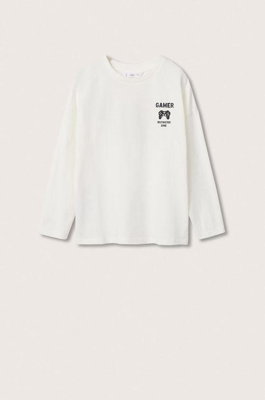 bílá Mango Kids - Dětská bavlněná košile s dlouhým rukávem Games Chlapecký