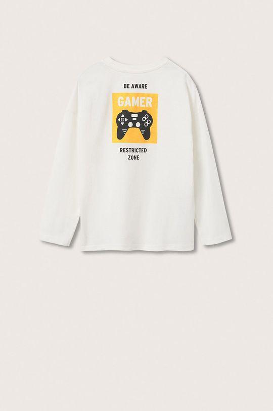 Mango Kids - Dětská bavlněná košile s dlouhým rukávem Games bílá