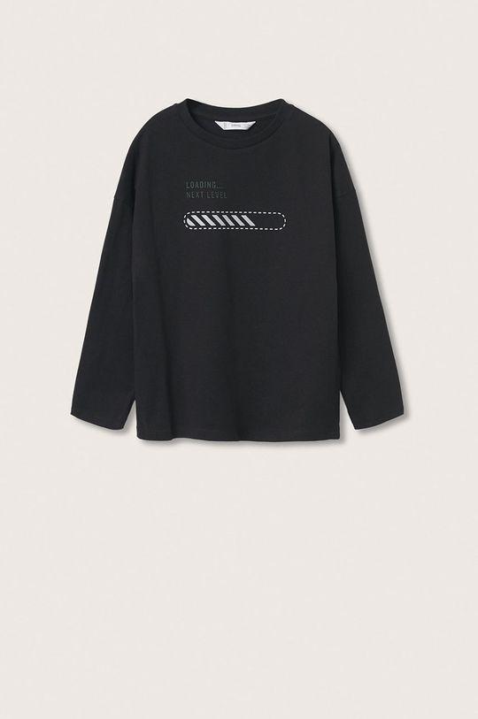 černá Mango Kids - Dětská bavlněná košile s dlouhým rukávem Games Chlapecký