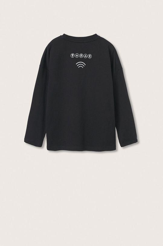 Mango Kids - Dětská bavlněná košile s dlouhým rukávem Games černá