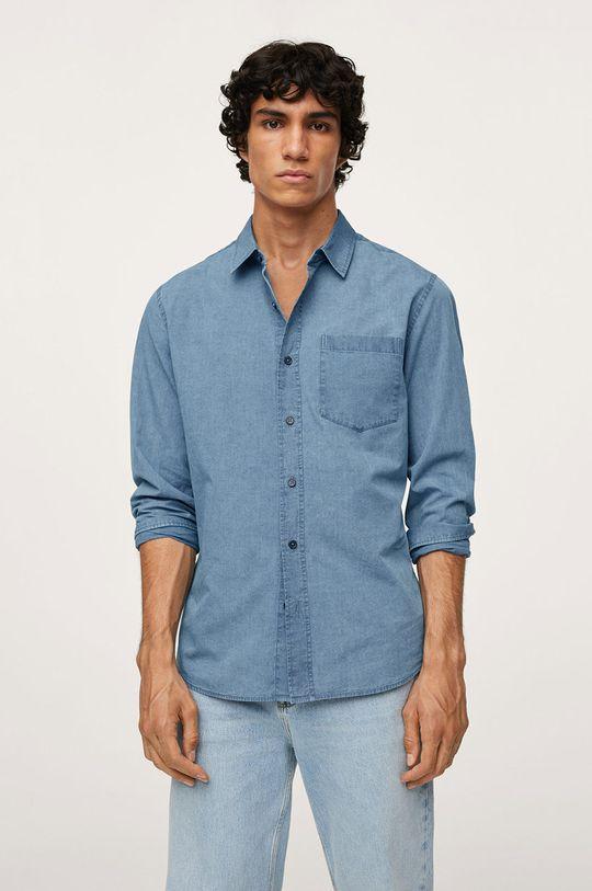 fialová Mango Man - Bavlněná košile Chambre1 Pánský