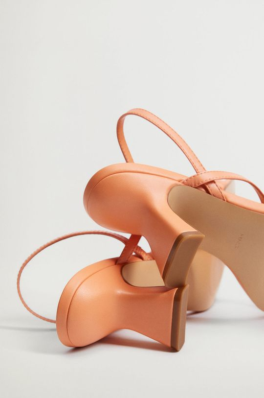 Mango - Kožené sandále YES oranžová