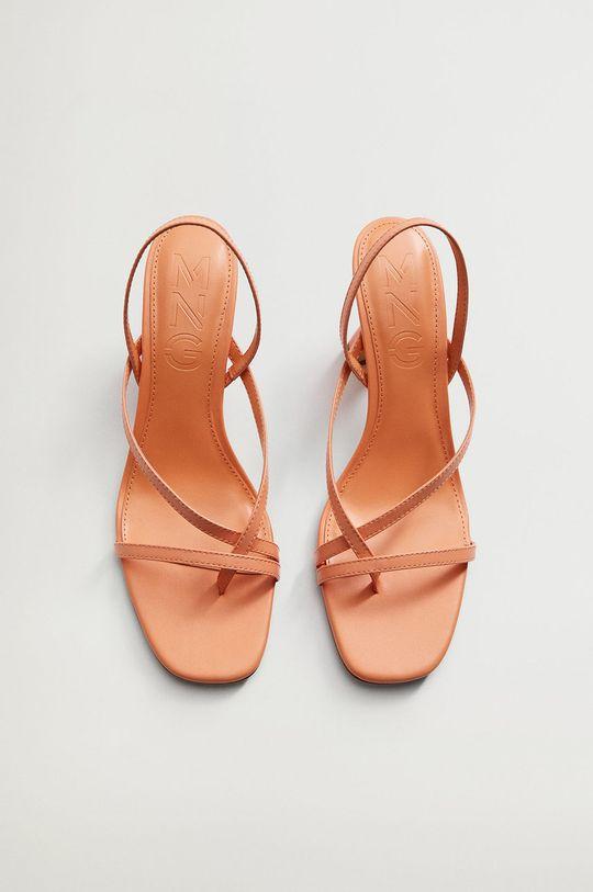 oranžová Mango - Kožené sandále YES