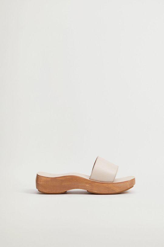 tělová Mango - Kožené pantofle WOODY Dámský