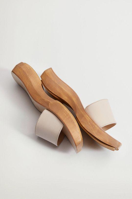 Mango - Kožené pantofle WOODY  Svršek: Telecí kůže Vnitřek: Umělá hmota Podrážka: Guma Vložka: Přírodní kůže