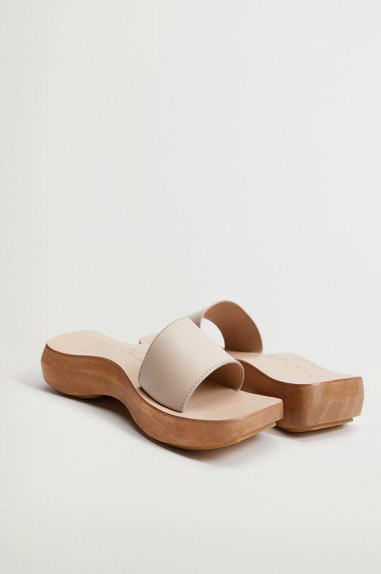 tělová Mango - Kožené pantofle WOODY