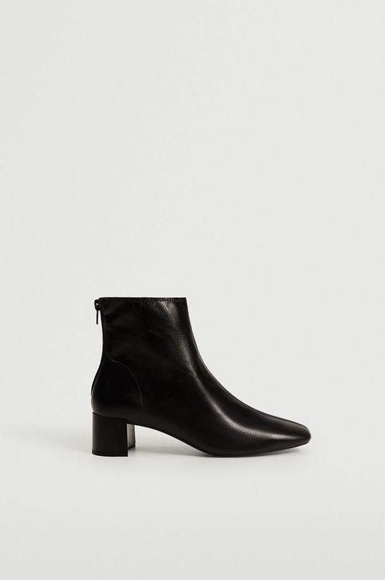 černá Mango - Kožené kotníkové boty Camus Dámský