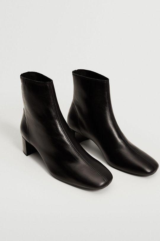 Mango - Kožené kotníkové boty Camus černá