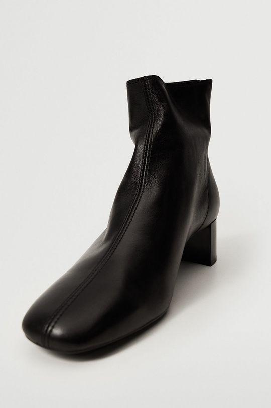 černá Mango - Kožené kotníkové boty Camus