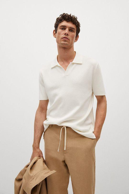 bílá Mango Man - Polo tričko Lino Pánský