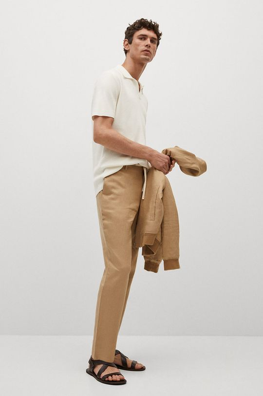 Mango Man - Polo tričko Lino bílá