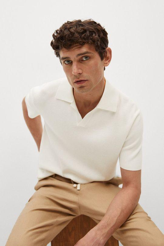 bílá Mango Man - Polo tričko Lino