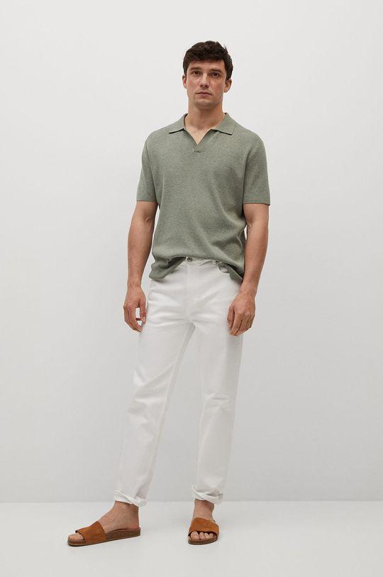 Mango Man - Polo tričko Lino zlatohnědá