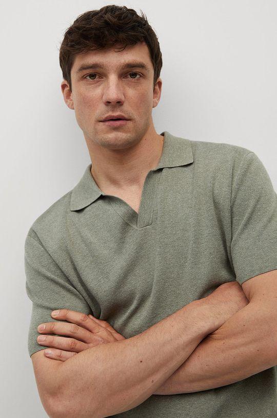 zlatohnědá Mango Man - Polo tričko Lino