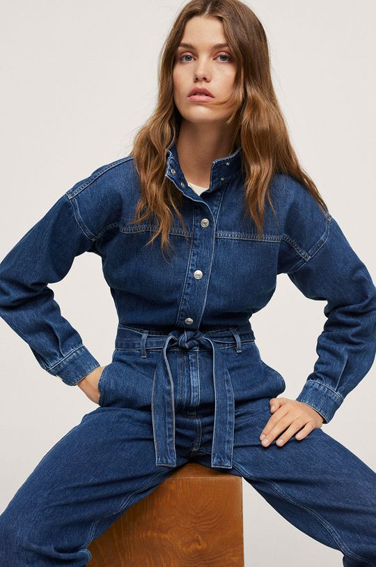 Mango - Kombinezon jeansowy Naomi 100 % Bawełna