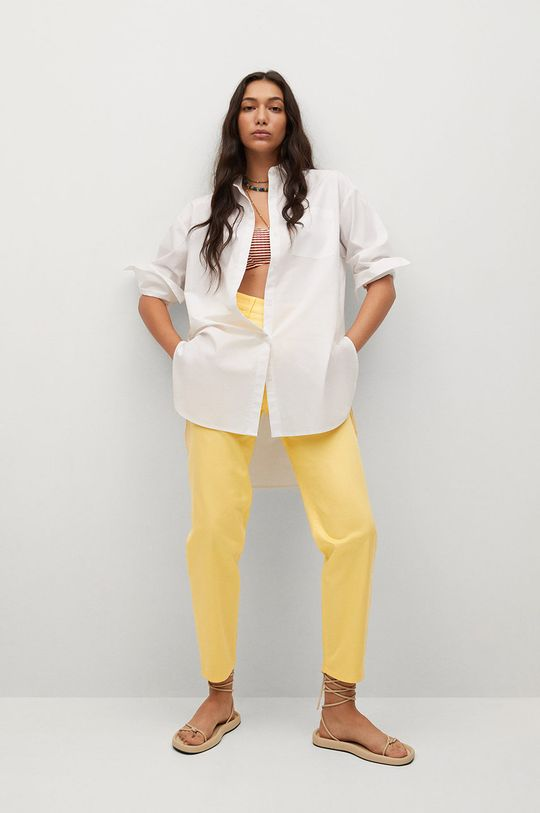 Mango - Spodnie FIVES żółty