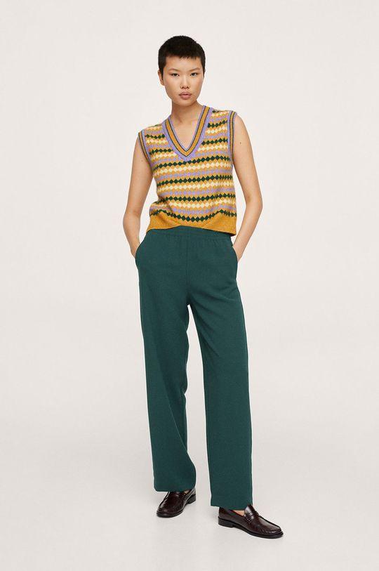Mango - Kalhoty Rubber zelená