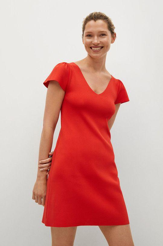 červená Mango - Šaty FRILLS Dámský