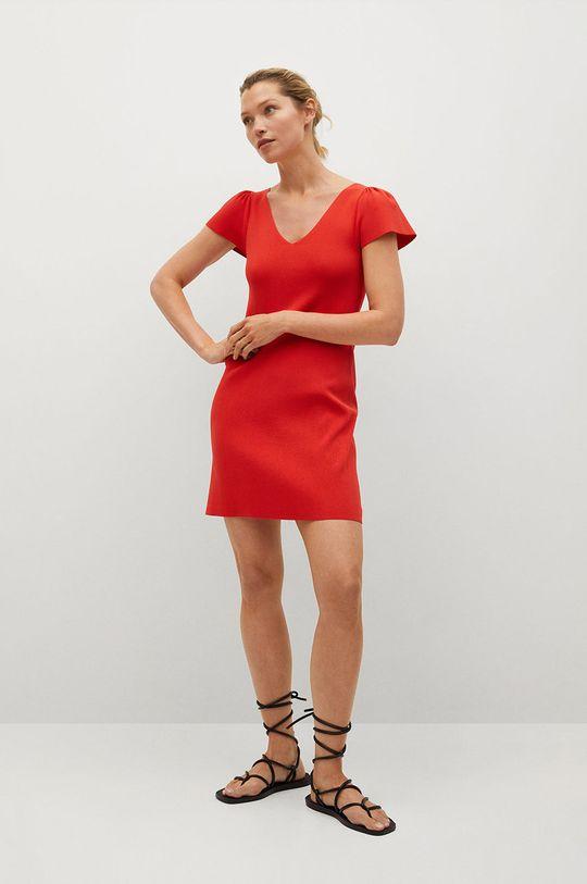 Mango - Šaty FRILLS červená