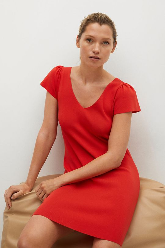 červená Mango - Šaty FRILLS