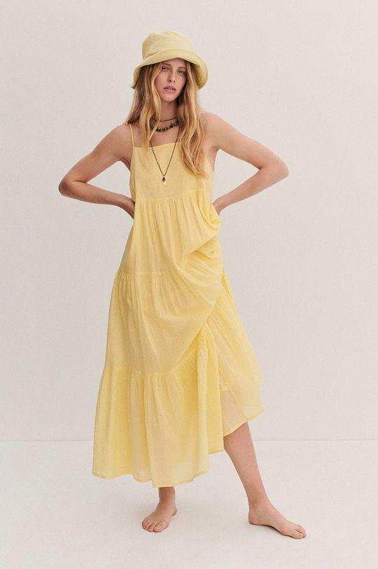 żółty Mango - Sukienka COTTON Damski