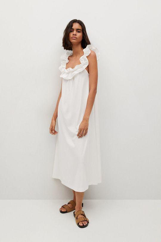 biela Mango - Bavlnené šaty Margot Dámsky