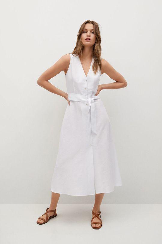 biały Mango - Sukienka lniana Iri Damski