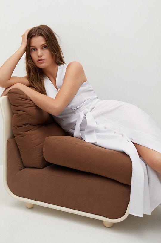 Mango - Sukienka lniana Iri biały