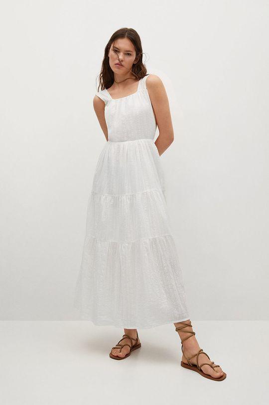 bílá Mango - Bavlněné šaty Coquet Dámský