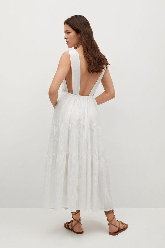 Mango - Bavlněné šaty Coquet bílá